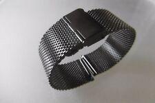 Milanaise Uhrenarmband, Edelstahl 22 mm schwarz