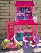 Barbie Glam Vacation Beach House Portable Fold N Go 2009 2 Story + Motor Scooter