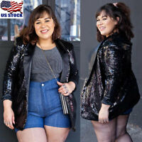 Plus Size Womens Glitter Sequin Blazer Suit Long Sleeve Jacket Coat Cardigan USA