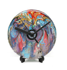 Abstract Hand Painted CD Disc Clock Novelty Unique Gift Idea Multicoloured