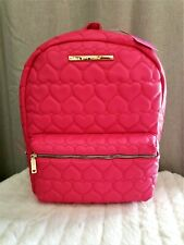 New Betsey Johnson Backpack Hot Pink Fuchsia Puffy Quilted Hearts 15x11.5