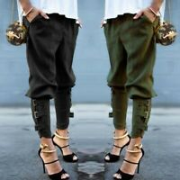 Mode Femme Taille elastique Military Cargo Casual Loose Long Pantalons Pants