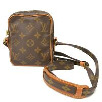 Authentic Louis Vuitton Monogram Shoulder Crossbody Bag Mini Danube Brown Unisex