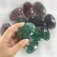 Natural Fluorite Palm Stone Crystal Healing Reiki Polished Colorful Paperweight