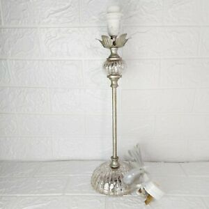 Silver Tone Table Lamp Pebbled Crystal Style 15.5 Inches Excellent condition