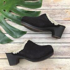 Crocs Dual Comfort Clogs Size 5 Dark Brown Suede Leather Block Heel Fuzzy Lining
