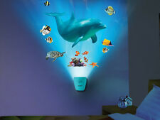 Wild Walls DOLPHIN wall stickers 13 decals with LIGHT & SOUNDS fish under sea