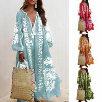 Boho Women Loose V Neck Long Sleeve Maxi Dress Summer Casual Beach Sundress UK