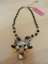 $55 Betsey Johnson Hollywood Glam Leopard Gem Cluster Necklace Hard To Find