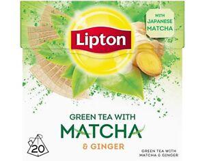 Lipton - GREEN TEA with MATCHA and GINGER  - 20 x 4 = 80 tea bags (pyramids)