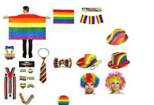 GAY PRIDE FANCY DRESS RAINBOW CLOWN LGBT PARADE PARTY ACCESSORIES LOT UK