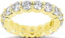 4.2 ct Round Diamond Eternity Ring 14K Yellow Gold Band Gia E-F 14 x .30 ct sz 4