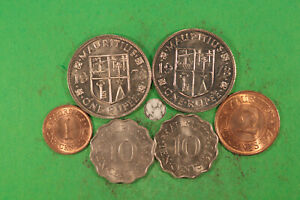 Mauritius 1, 2, 2 x 10 Cents, 2 x Rupee 1959 - 1978 alle unc ! hübsches Lot