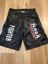 Naga Mega Fighter Black Satin Embroidered Logos Fighting Shorts Men 30