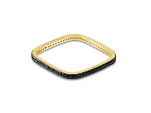 Square Stacking Black Diamond Eternity Ring in 18k Gold by Leah Van Meyer