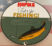 VINTAGE RAPALA TAKLE FISHING LURES PORCELAIN SIGN GAS OIL MERCURY OUTBOARD PENN