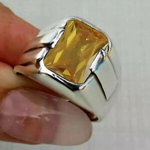 Men's Ring 925 Sterling Silver Turkish Handmade Jewelry Citrine All Size