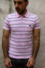 Nike Vintage Short Sleeved Polo T-Shirt Top Cotton Auth Pink Striped M Medium