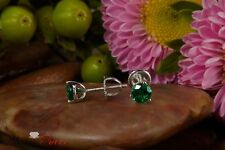 3.15 ct Green Round Solitaire Screw Back Stud Earrings Martini 14k White Gold
