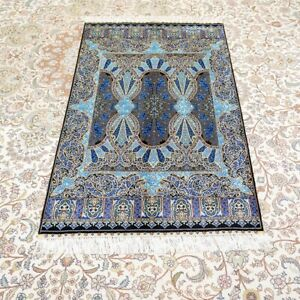 YILONG 3'x4.5' Handmade Silk Carpet Home Indoor Antistatic Blue Rug YWX155A