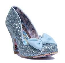 Irregular Choice Nick of Time Women's Blue Glitter High Heel Shoes With Bow UK 6 (eu Size 39)