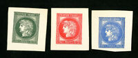 France Stamps Set of 3 Large Proofs from 1876 3 Values Catalog Value $660.00