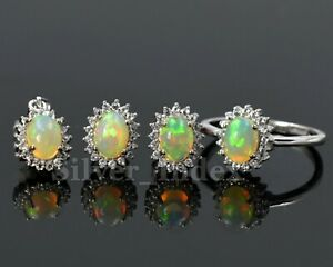 Natural Ethiopian Welo Opal 925 Sterling Silver Pendent Ring Earring Jewelry Set