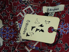 8BIRDIES SheerOpenLacedNeckRedPatterned SizeS NWT