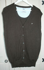 Fynch Hatton Men's Brown Cashmere Wool Sleeveless Cardigan Size XXL - Used