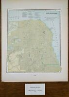 "Vintage 1902 SAN FRANCISCO CALIFORNIA Map 11""x14"" Old Antique Original BERKELEY"
