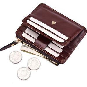 Men's Leather Wallet Credit Card Holder RFID Blocking Zip Pocket Coin Purse Thin