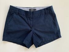 """J Crew Chino Navy Blue Flat Front Cotton Shorts SZ 4 Classic Style 3.5"""" Inseam"""