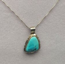 Pendant With Turquoise Stone Necklace Beautiful Vintage Tf Sterling Silver