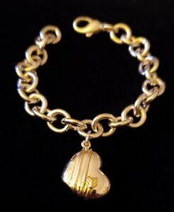 TIFFANY & CO SILVER 18K GOLD HEART ARROW CHARM BRACELET POLISHED BY TCO Retired!