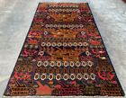 Authentic Hand Knotted Afghan Balouch War Tank Pictorial Wool Area Rug 7 x 4 Ft