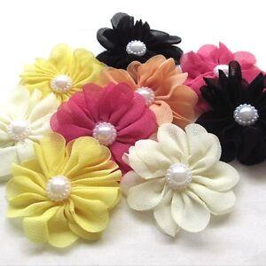 5pcs Fabric Ribbon chiffon Flowers Bows w/ Pearl Appliques Craft Bulk #262