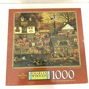 """Charles Wysocki Milton Bradley 1000 Piece Puzzle """" Autumn at Stony Creek"""""""