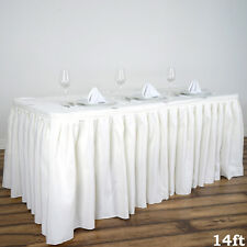 """14"""" Ivory POLYESTER PLEATED TABLE SKIRT Tradeshow Wedding Catering Supplies"""
