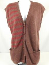 Jeanne Pierre Lambswool & Angora Long Sweater Vest Burgundy Red Size Small