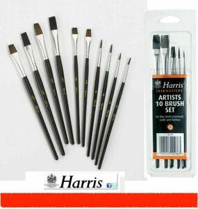 10 HARRIS ARTISTS PAINT BRUSHES SET FINE PAINTWORK ART CRAFT HOBBIES MIXED SIZES