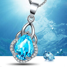 Ladies' fashion jewelry necklace with platinum blue zircon pendant necklace