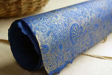 "Handmade Paper 20"" x 30""  Sapphire Wizard Swirl set of 3 Golden Print"