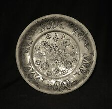 1700's. Antique Islamic Ottoman Tinned Copper Plate, Hand Hammered