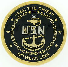 SCPO CHIEF Ask The Chief No Weak Link AMERICAN FLAG BACK US Navy Challenge Coin