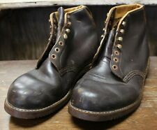 Vintage Swiss German Mens Leather Ankle Boots Military Riding Combat