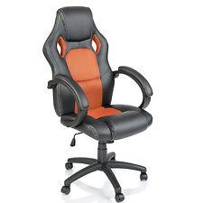 TRESKO® Sedia da ufficio girevole per casa Poltrona ufficio Racing Arancione