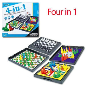 Children's Game Chess 4 in 1 Magnetic Foldable Board Ludo Snake Game Travel Age6