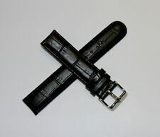 "Lucien Piccard 18MM Alligator Grain Real Leather Watch Strap 7.5"" SATIN BLACK"