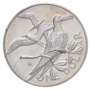 Roughly Quarter Size 1973 British Virgin Islands 1 Dollar World Silver Coin *867