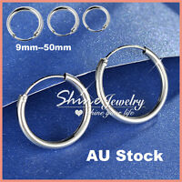 STERLING SILVER MENS WOMENS GIRLS KIDS HOOP SLEEPER EARRINGS NOSE EAR PIERCING